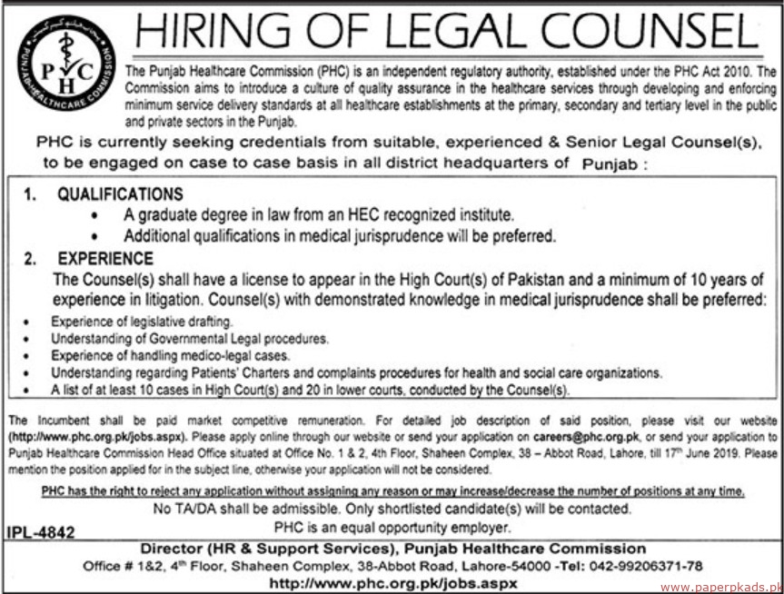 The Punjab Healthcare Commission (PHC) Jobs 2019 Latest