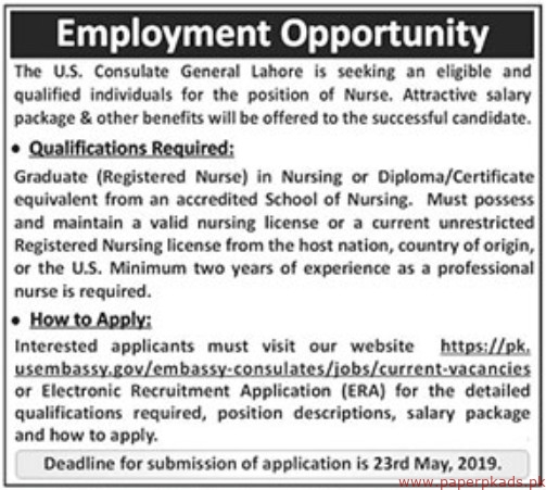 US Consulate General Lahore Jobs 2019 Latest