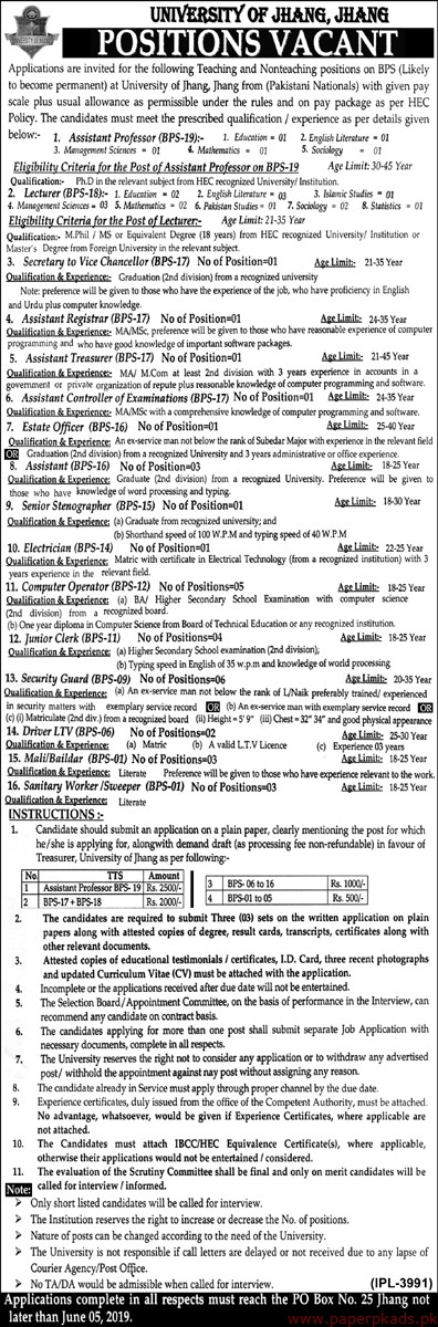 Univerity of Jhang Jobs 2019 Latest