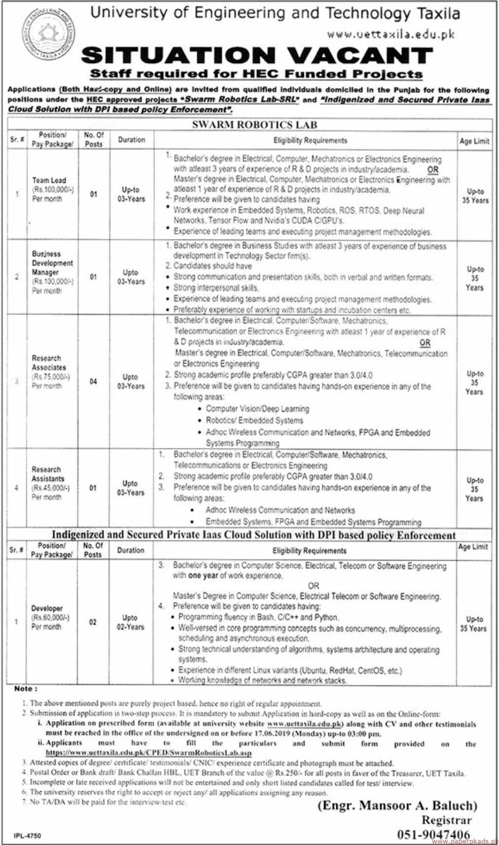 University of Engineering and Technology Taxila Jobs 2019 Latest