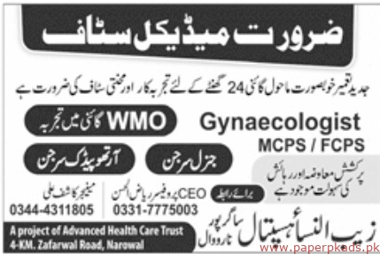 Zaib un Nisa Hospital Jobs 2019 Latest
