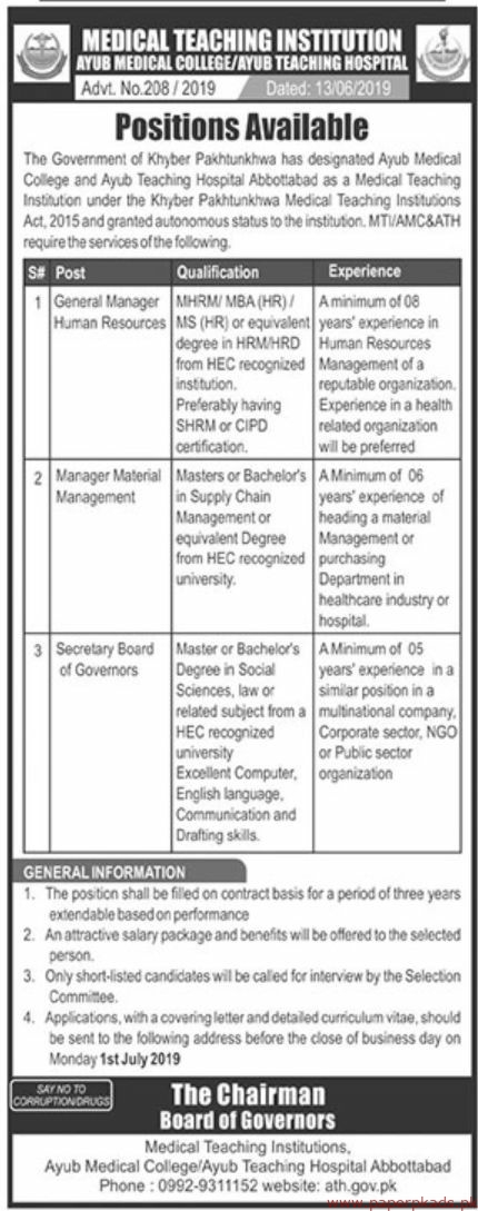 Ayub Teaching Hospital Jobs 2019 Latest