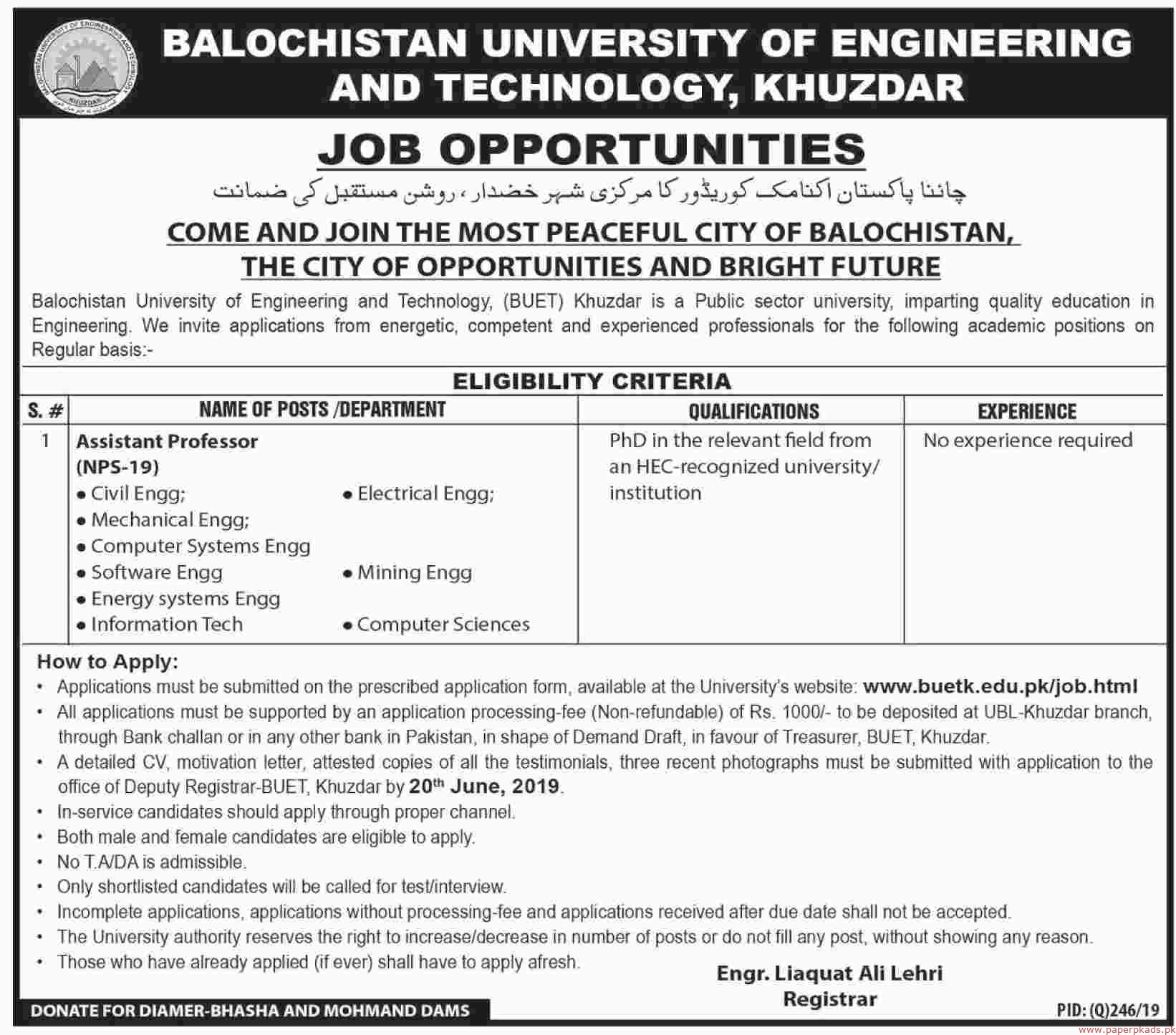 Balochistan University of Engineering and Technology Khuzdar Jobs 2019 Latest