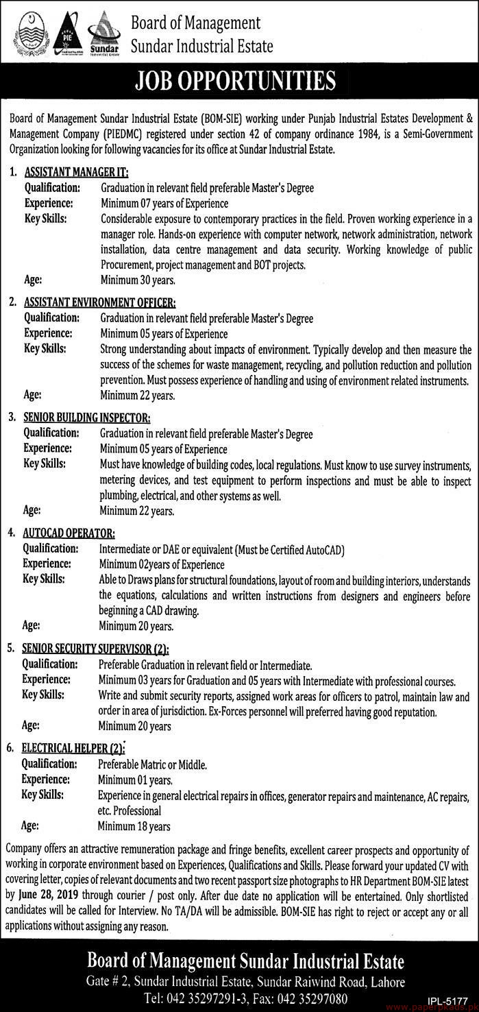 Board of Management Sundar Industrial Estate Jobs 2019 Latest