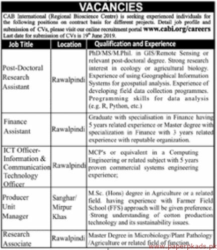 CAB International Jobs 2019 Latest