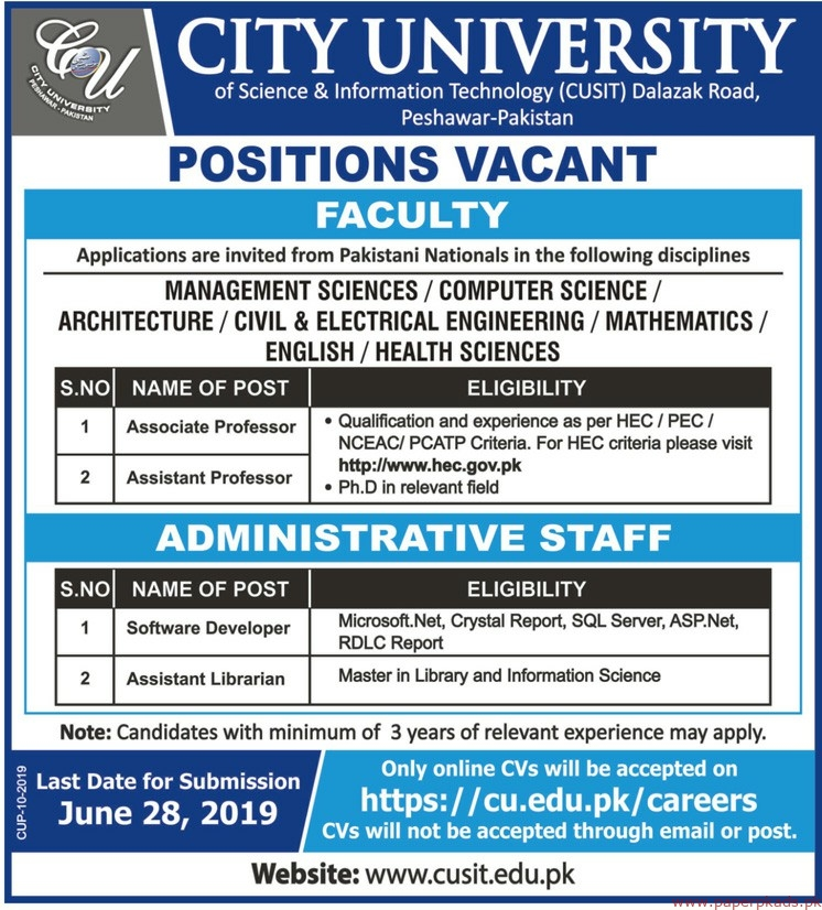 City University of Science & Information Technology CUSIT Jobs 2019 Latest