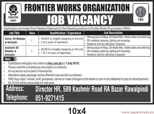 FWO Jobs 2019 Latest Pak Army