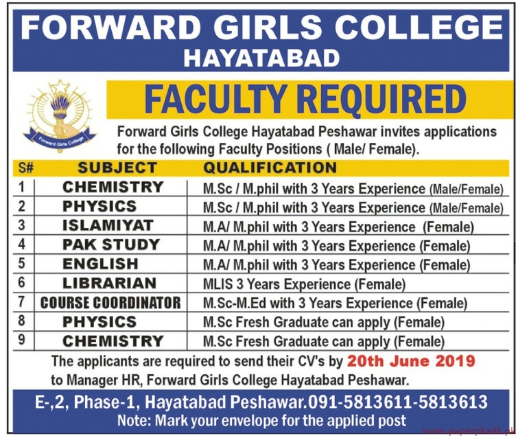 Forward Girls College Jobs 2019 Latest