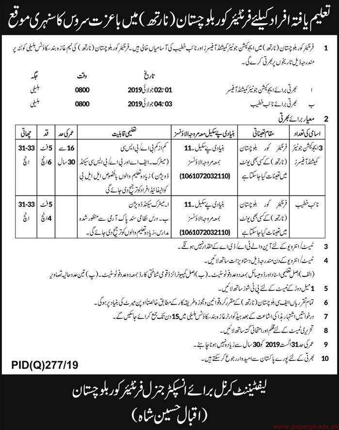 Frontier Core Balochistan Jobs 2019 Latest