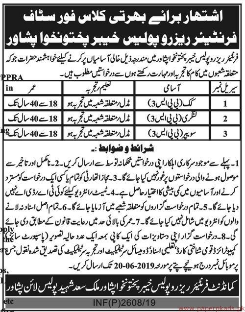 Frontier Reserve Police KPK Jobs 2019 Latest