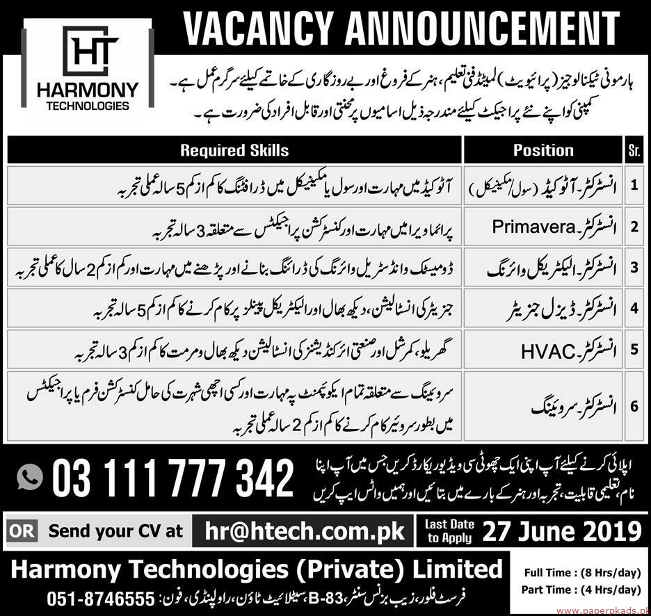 Harmony Technologies Private Limited Jobs 2019 Latest