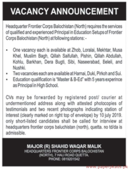 Headquarter Frontier Corps Balochistan North Jobs 2019 Latest