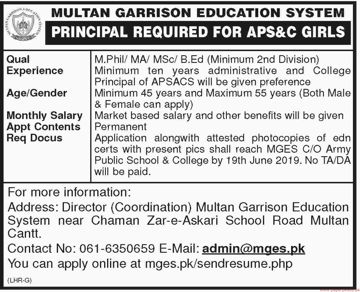 Multan Garrison Education System Jobs 2019 Latest