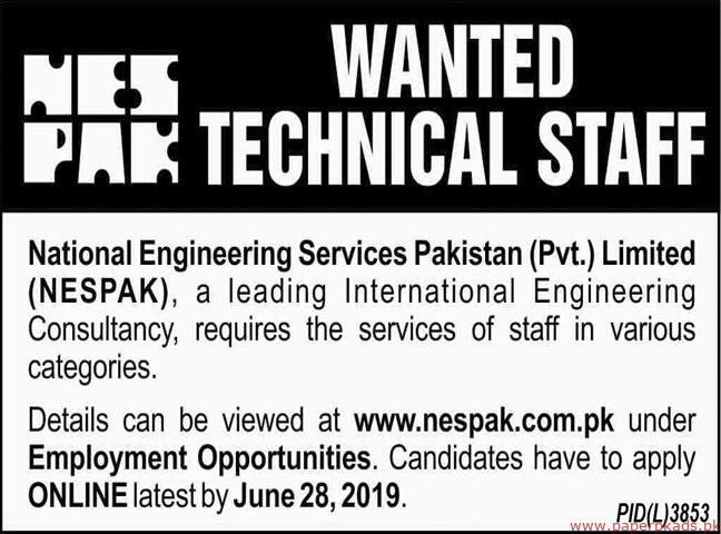 National Engineering Services Pakistan Pvt Limited Jobs 2019 Latest