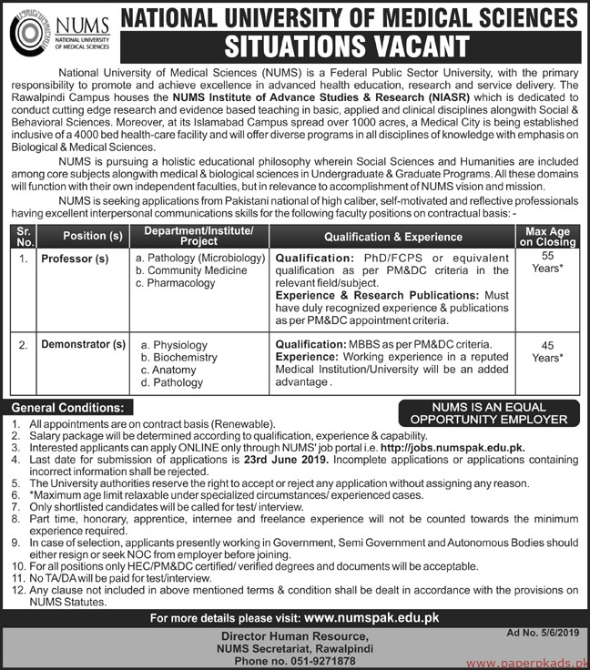 National University of Medical Sciences NUMS Jobs 2019 Latest