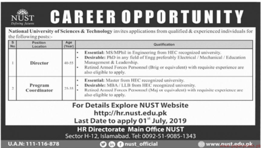 National University of Sciences & Technology NUST Jobs 2019 Latest