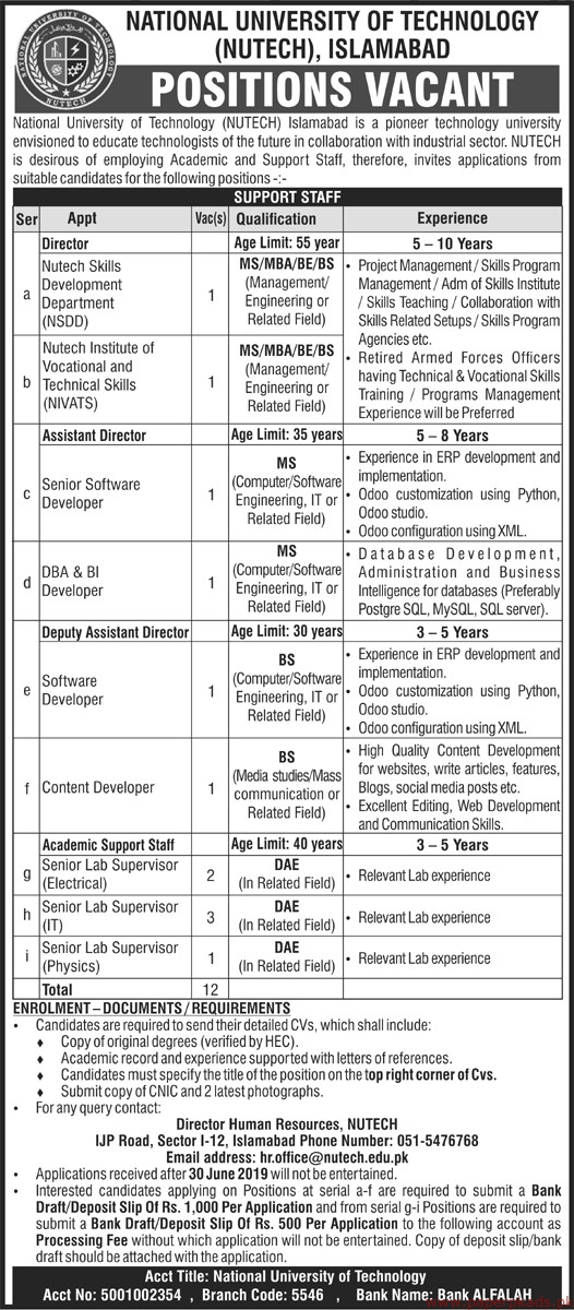 National University of Technology NUTECH Jobs 2019 Latest