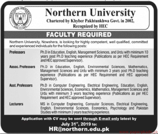 Northern University Jobs 2019 Latest