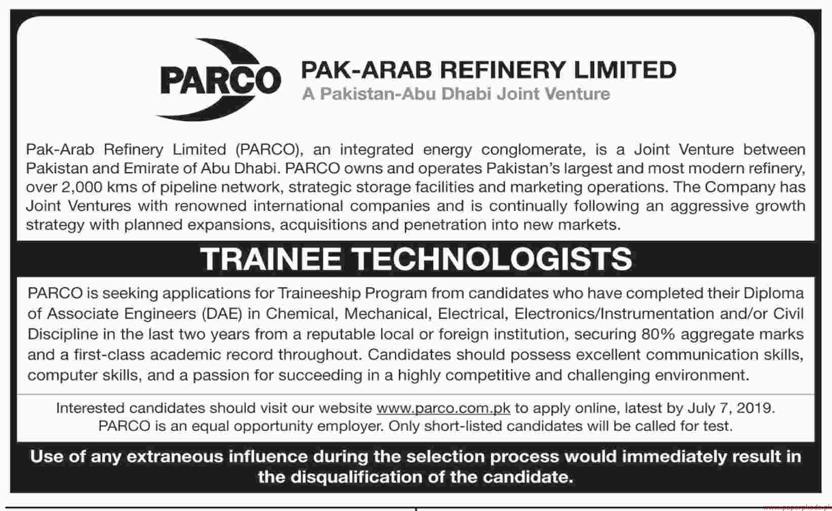 Pak Arab Refinery Limited PARCO Jobs 2019 Latest