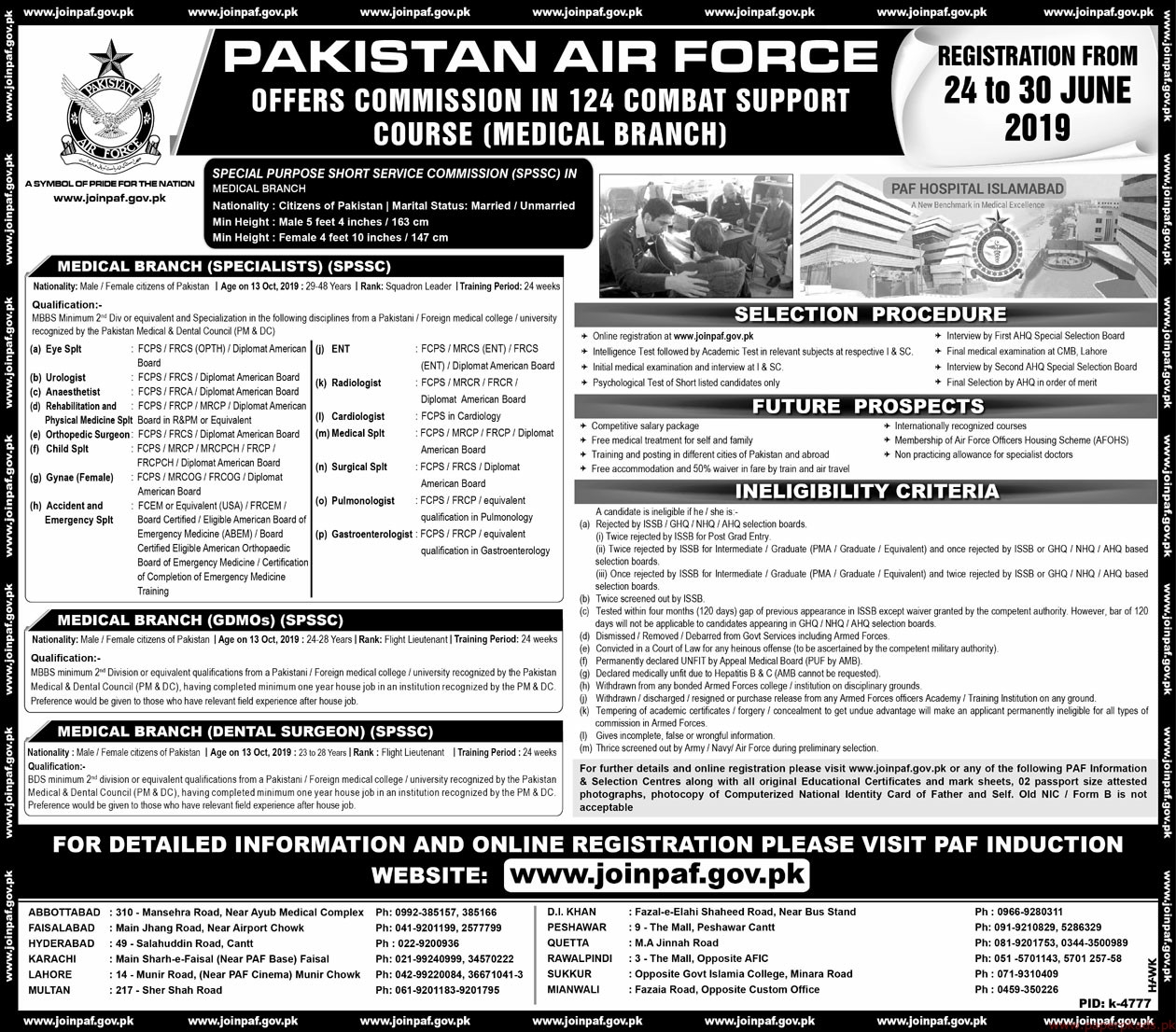 Pakistan Air Force PAF Latest Jobs 2019