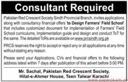 Pakistan Red Crescent Society Sindh Jobs 2019 Latest