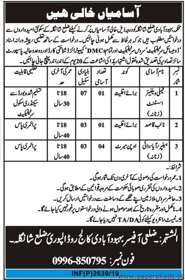Population Welfare Department Jobs 2019 Latest
