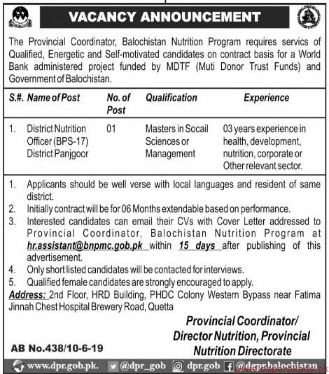 Provincial Coordinator Balochistan Nutrition Program Jobs 2019 Latest