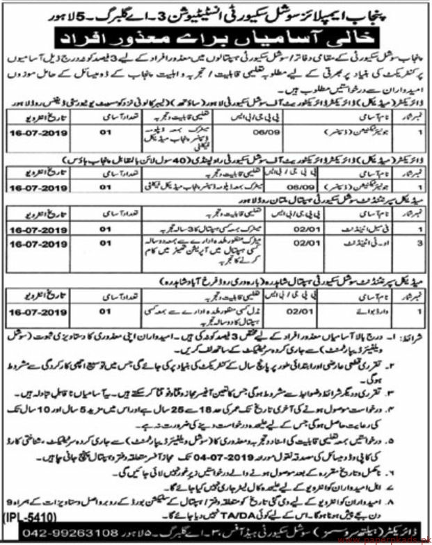 Punjab Employees Social Security Institution Jobs 2019 Latest