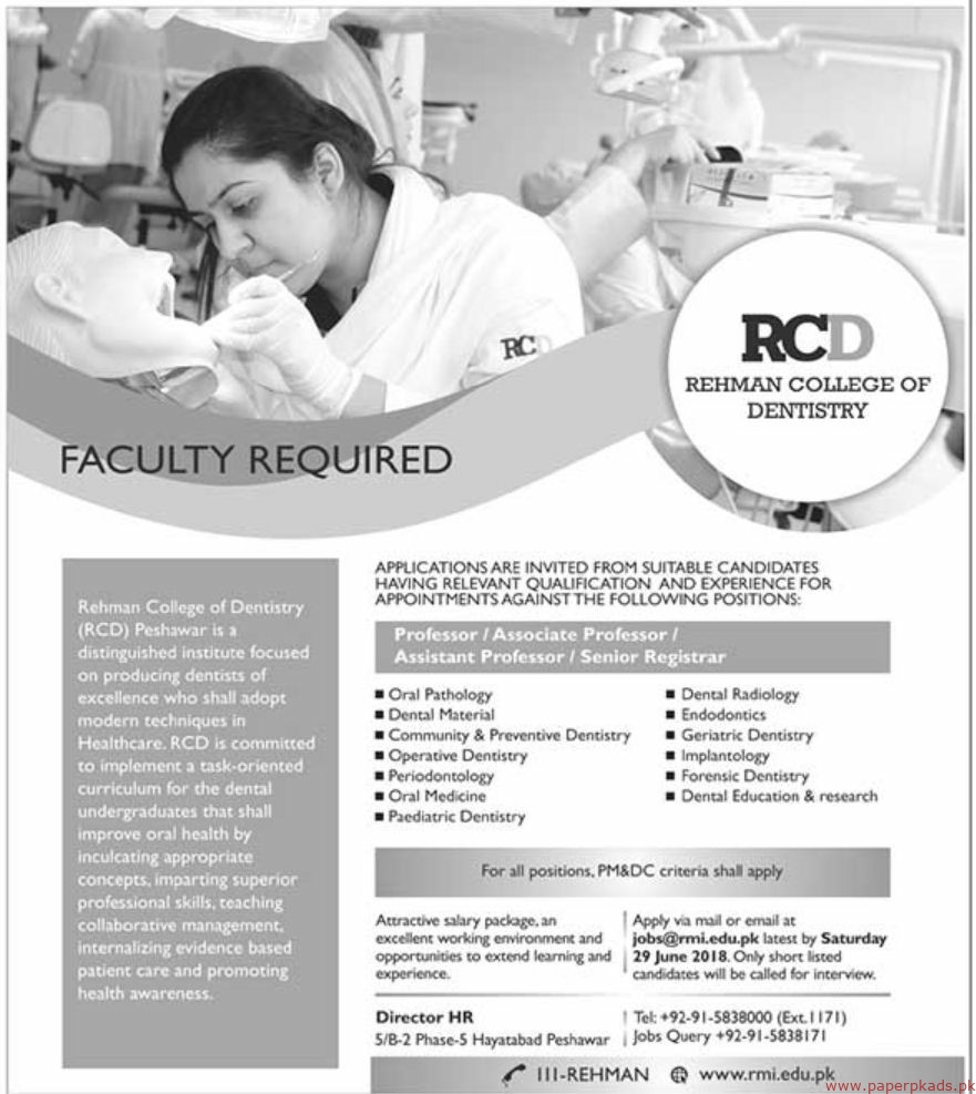 RCD Rehman College of Dentistry Jobs 2019 Latest