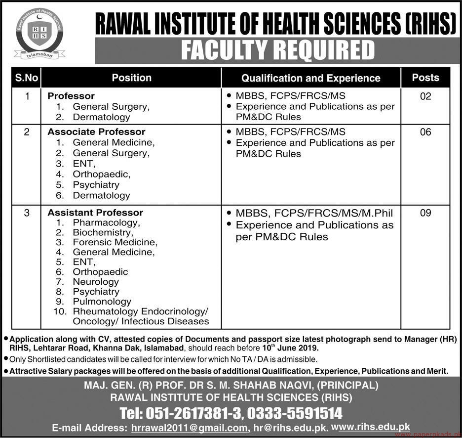 Rawal Institute of Health Sciences RIHS Jobs 2019 Latest