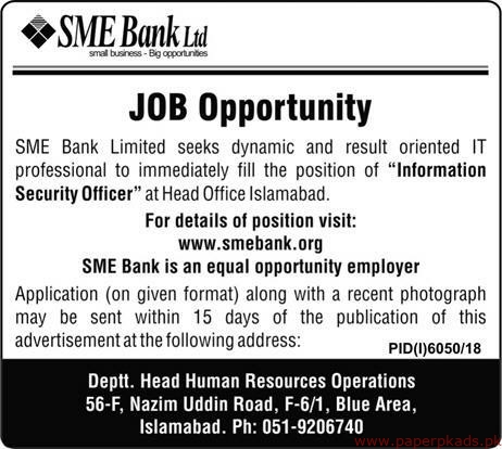 SME Bank Limited Jobs 2019 Latest