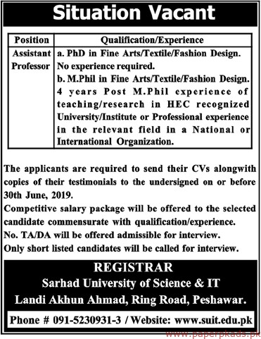 Sarhad University of Science & IT Jobs 2019 Latest