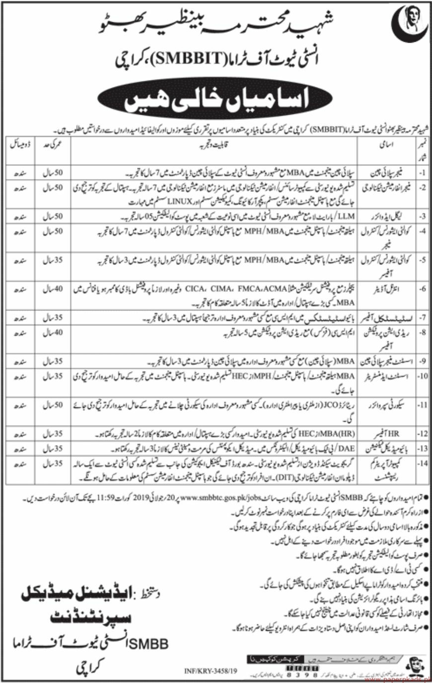 Latest Jobs In Shaheed Mohtarma Benazir Bhutto Institute