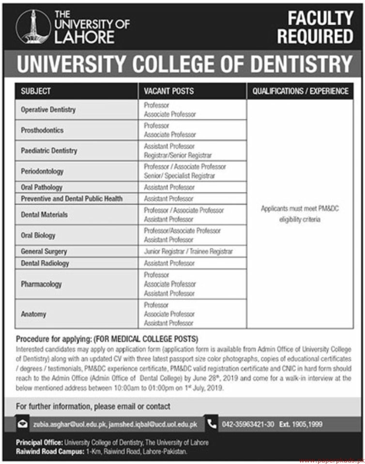 The University of Lahore Jobs 2019 Latest