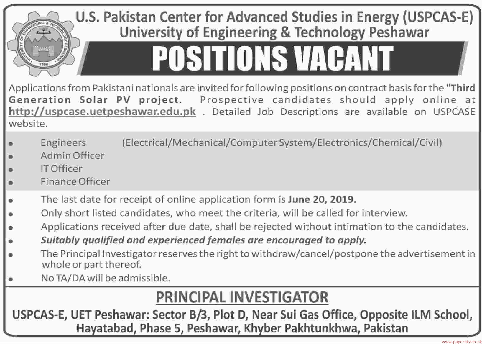 US Pakistan Center for Advanced Studies in Energy (USPCAS-E) University of Engineering & Technology Peshawar Jobs 2019 Latest