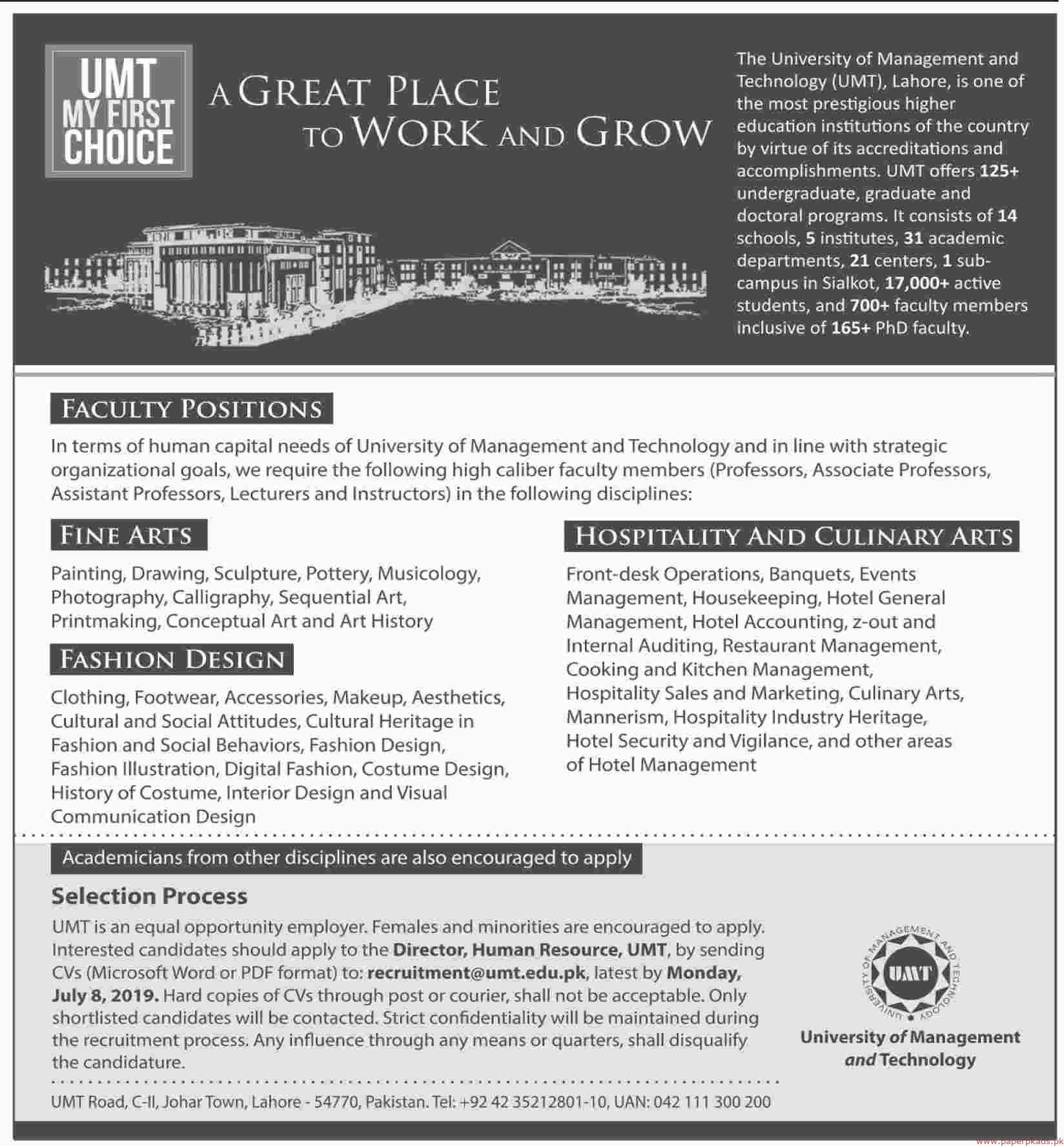 University Of Management And Technology Umt Jobs 2019 Latest
