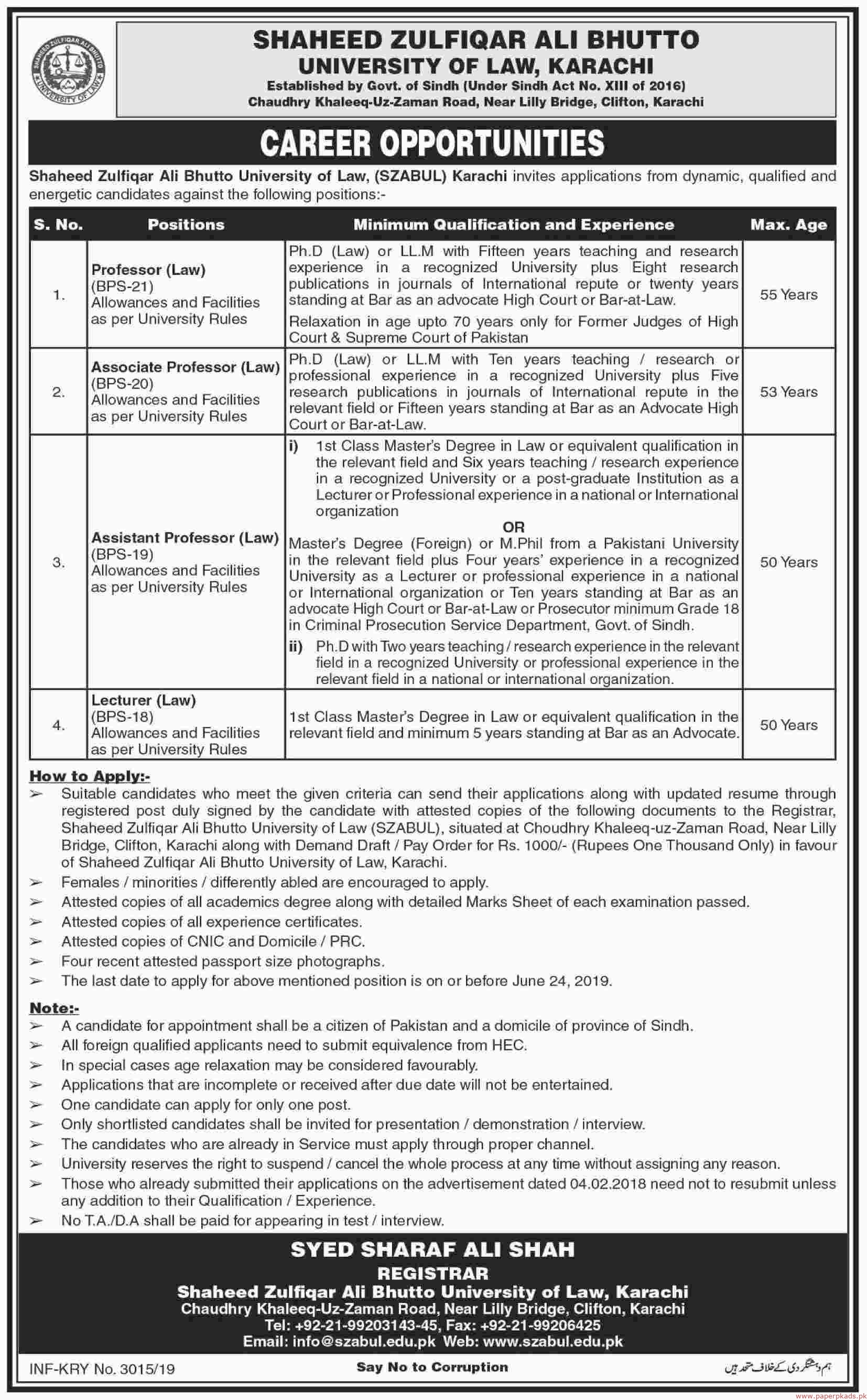 University of law Jobs 2019 Latest