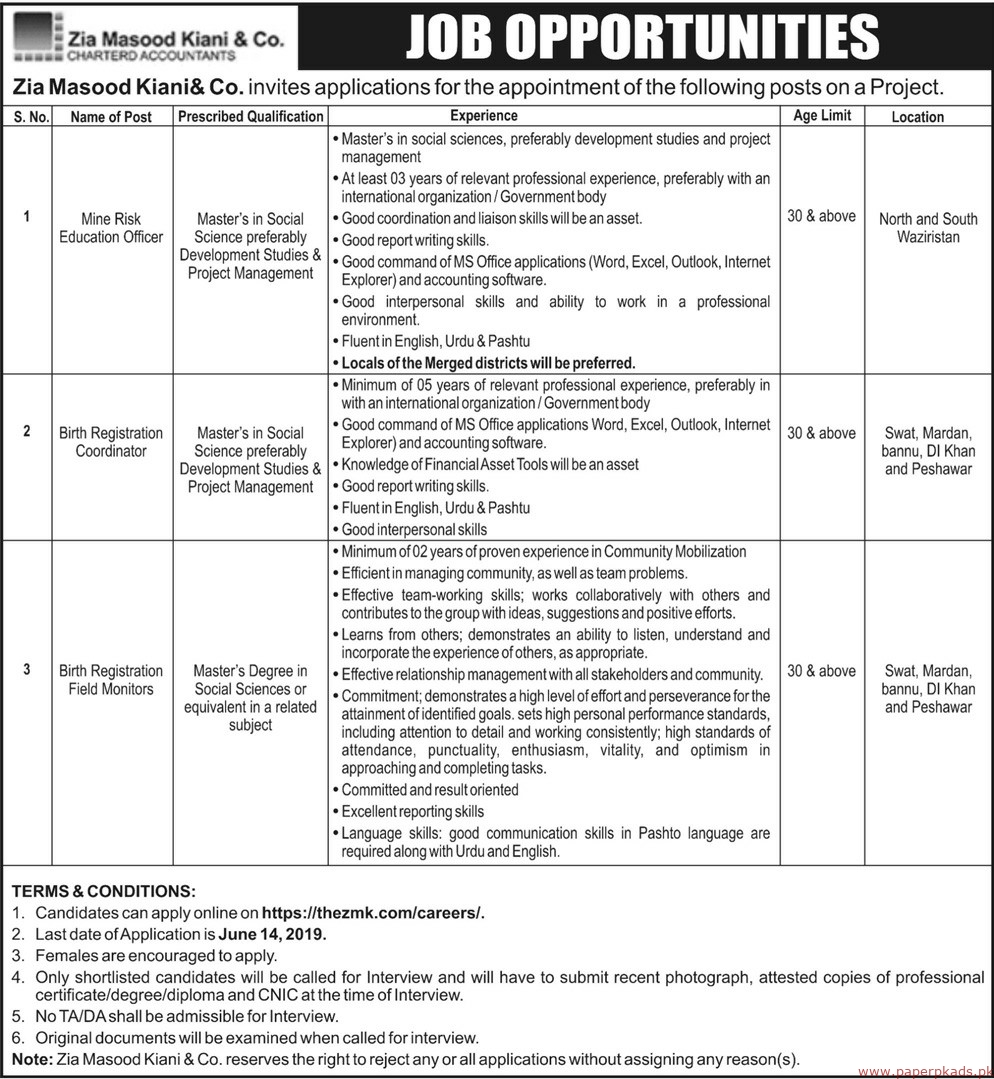 Zia Masood Kiani & Co Jobs 2019 Latest