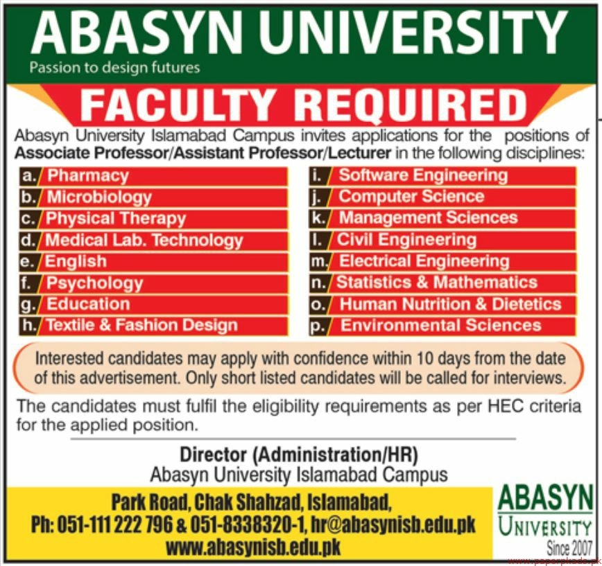 Latest Jobs In Abasyn University Islamabad