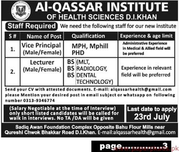 Al Qassar Institute of Health Sciences Jobs 2019 Latest