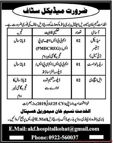 AlKhidmat Naseem Khan Hospital Jobs 2019 Latest