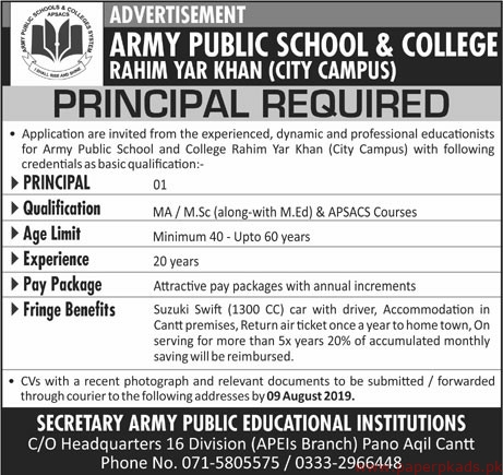 Army Public School & College Jobs 2019 Latest