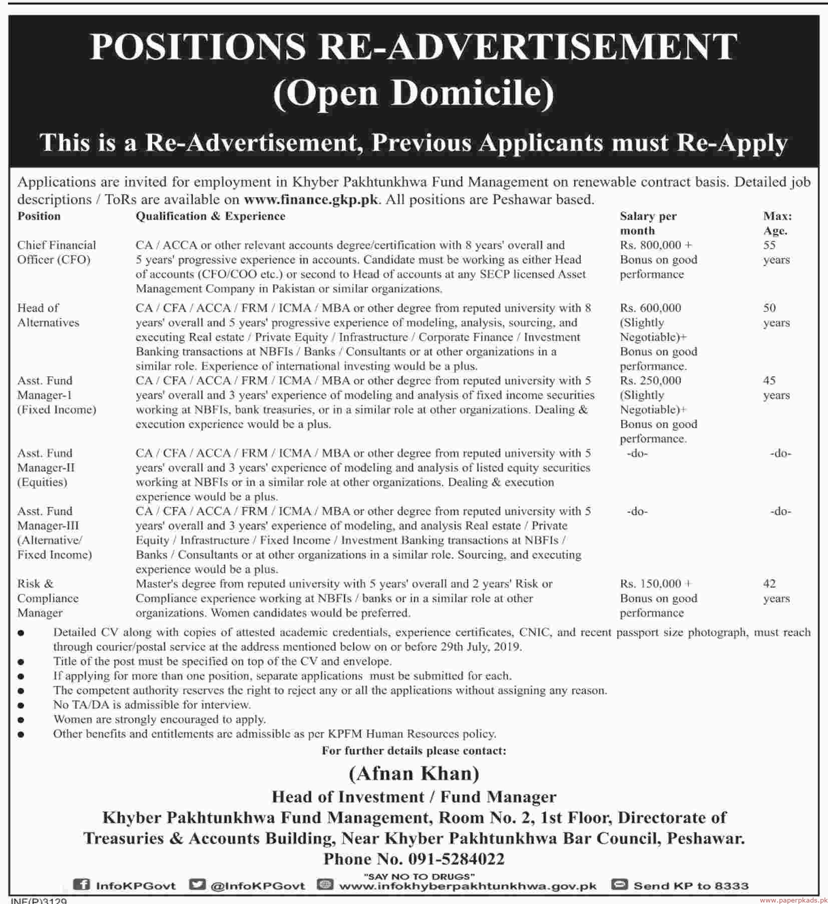 Finance Department Khyber Pakhtunkhwa Jobs 2019 Latest