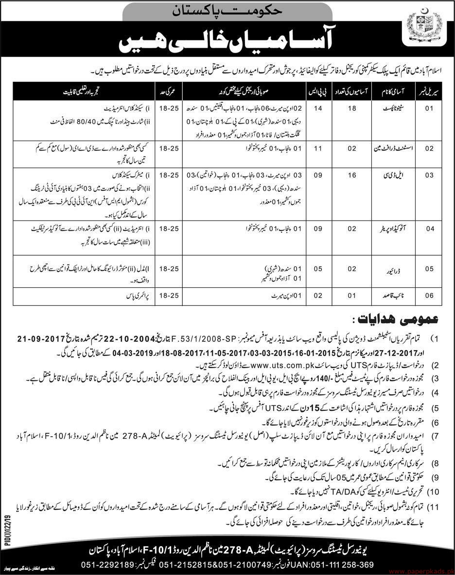 Government of Pakistan Public Sector Company Jobs 2019 Latest