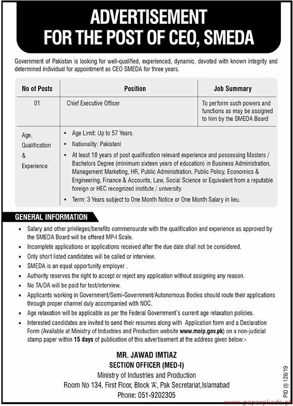Government of Pakistan SMEDA Jobs 2019 Latest