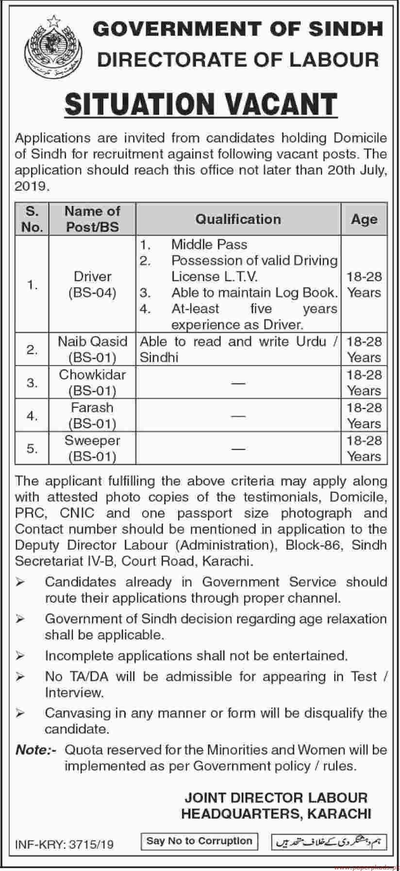 Government of Sindh Directorate of Labour Jobs 2019 Latest