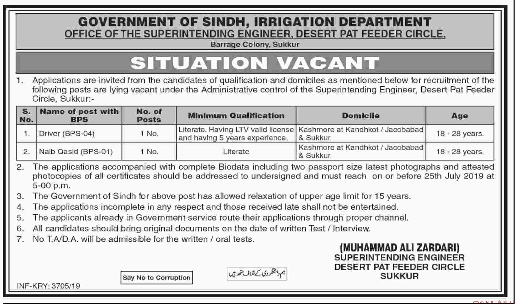 Government of Sindh Irrigation Department Sukkur Jobs Latest 2019
