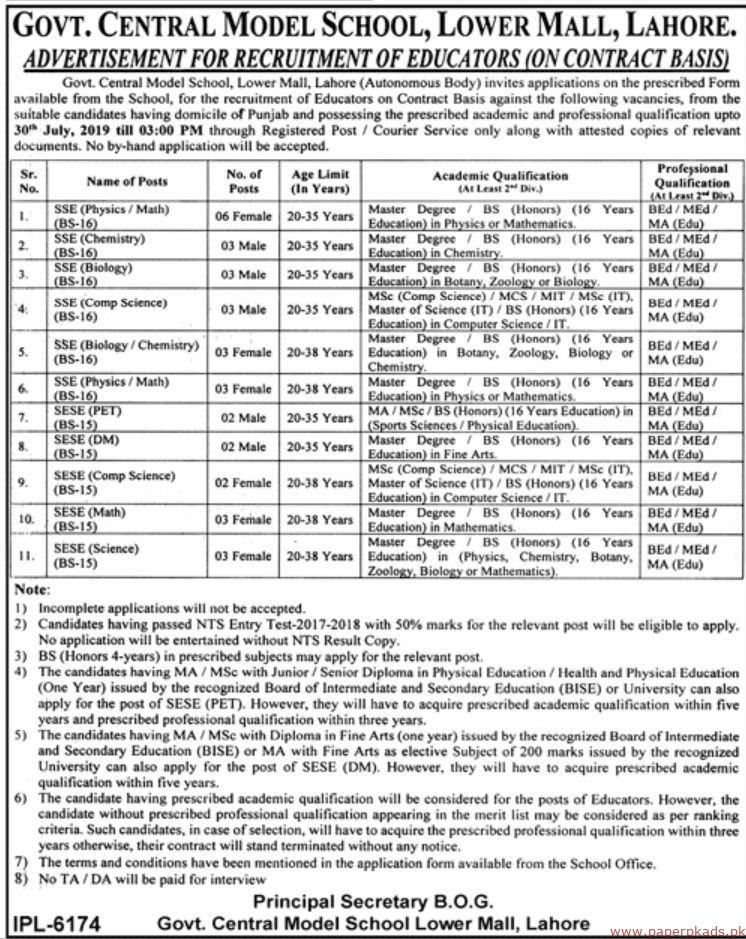 Govt Central Model School Lower Mall Lahore Jobs 2019 Latest