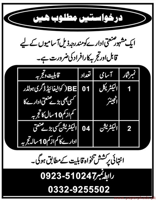 Industrial Department Jobs 2019 Latest