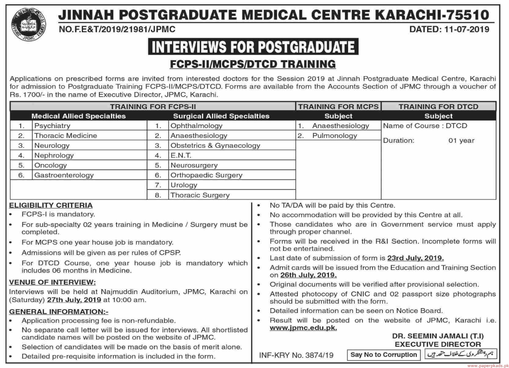 Jinnah Postgraduate Medical Centre Karachi Jobs 2019 Latest